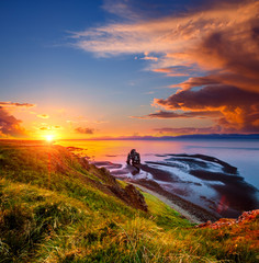 Wall Mural - Charming view of the Atlantic ocean at dawn. Location place famous Hvitserkur rock, Vatnsnes peninsula, Iceland, Europe.