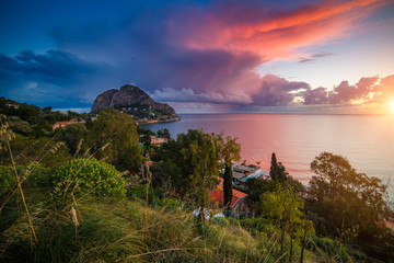 Wall Mural - Dramatic sky above the sea before a storm in the morning. Location place Sicilia, Zafferano cape, Palermo city, Italy, Europe.