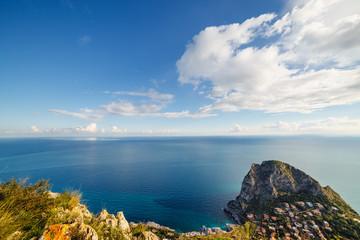 壁紙(ウォールミューラル) - Fantastic view of the azure sea on a sunny day. Location place Island Sicily, Zafferano cape, Palermo city, Italy, Europe.