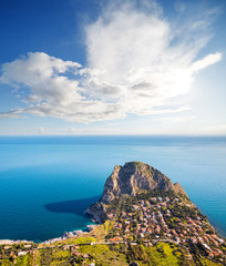 Wall Mural - Fantastic view of the azure sea on a sunny day. Location place Island Sicily, Zafferano cape, Palermo city, Italy, Europe.