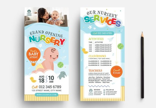 Thin Nursery Flyer Layout for Preschool & Kindergarten