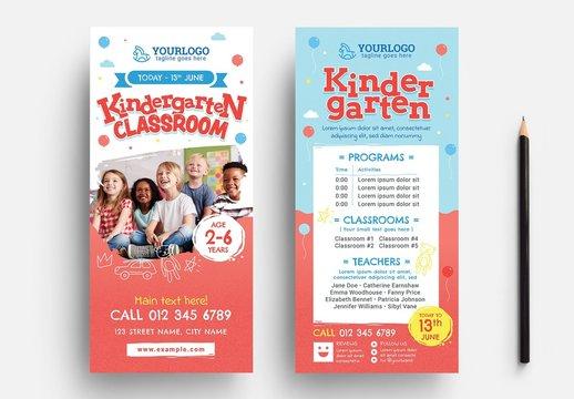Kindergarten Rack Card Flyer Layout with Children's Illustrations