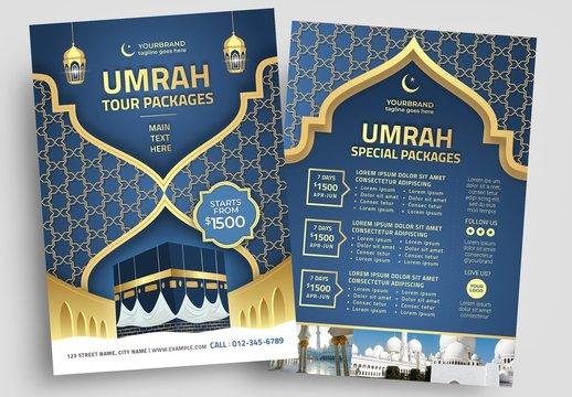 Umrah Tour Flyer Layout with Arabic Pattern