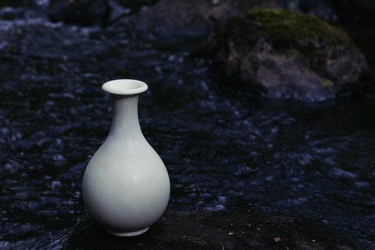White ceramic vase in the wild