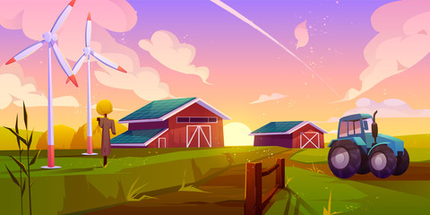 Smart, ecological farming cartoon vector concept