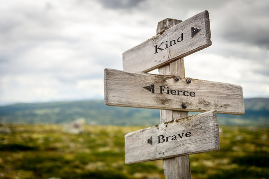 kind fierce brave text engraved on old wooden signpost outdoors in nature. Quotes, words and illustration concept.