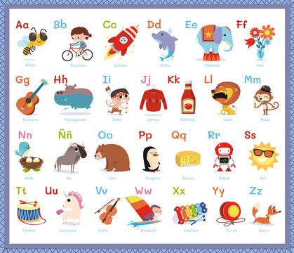 Abecedario infantil ilustrado en español