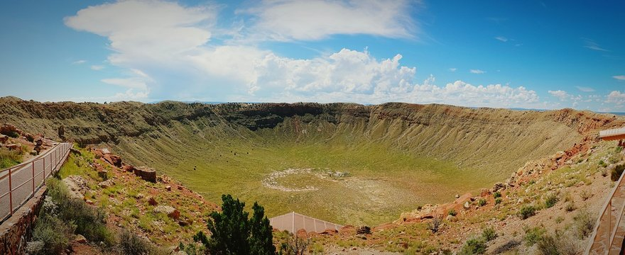 Scenic View Of Meteor Crater Against Sky