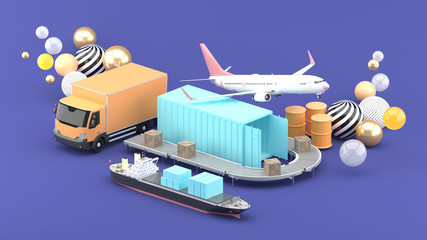 Containers are surrounded by planes, freight truck and cargo ships on a purple background.-3d rendering. - fototapety na wymiar