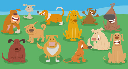 Fototapete - funny dogs cartoon animal characters group
