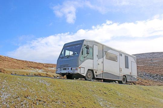 Motor Home on Dartmoor in winter