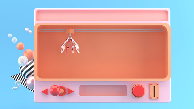 Crane Claw Machine Games Isolated on blue background, 3D rendering