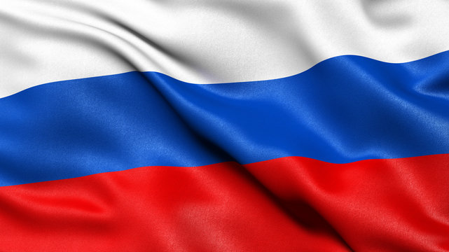 3D illustration of the flag of Russia waving in the wind.