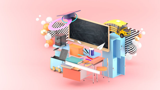 Blackboard, study desk, lockers, school bags and school supplies surrounded by colorful balls on a pink background.-3d rendering..