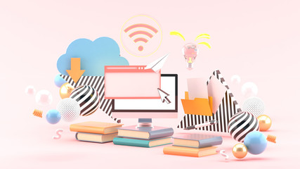 Computers and browsers on books surrounded by colorful balls on a pink background.-3d rendering.