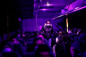 Karen Miranda, a nurse who works in the coronavirus disease (COVID-19) intensive care unit where patients infected with the COVID-19 are treated at Juarez hospital, takes the bus to work, on the outskirts of Mexico City