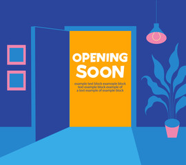 Opening soon. An open door from the room to the outside. The end of self-isolation.