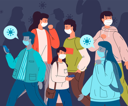 Infected people break the rules and don t adhere to quarantine and self-isolation. Unhealthy man and woman wear face medical mask spread the virus through other people. Concept of coronavirus 2019