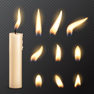 Candle with fire flame lights realistic vector mockup on transparent background. Burning church or party candle made of white wax and wick with glowing flares, Christmas, birthday or romantic holiday