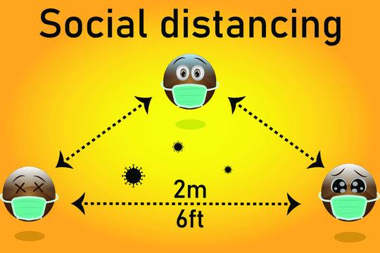 Vector illustration of three black emojis wearing masks and maintaining social distancing.