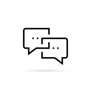 black thin line online chat bubble icon