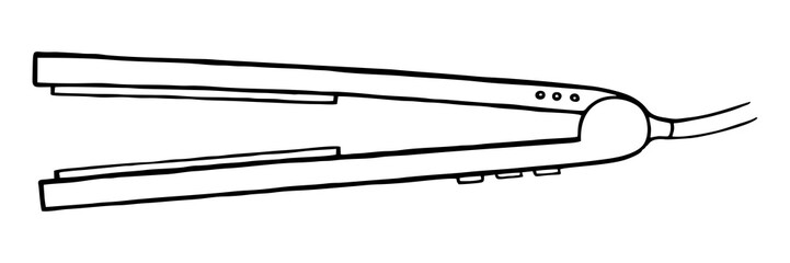 LINEAR DRAWING OF A HAIR STRAIGHTENING IRON IN THE DOODLE STYLE