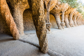 Stone colonnade in Park Guell in Barcelona