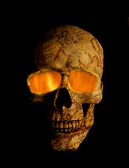 Fiery pirate skull on a black background