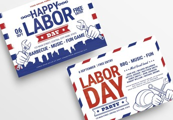 Labor Day Flyer Layout with City Skyline