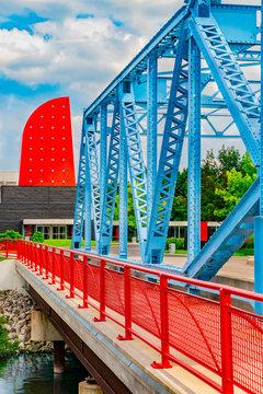 Bright colored Washington Street bridge and building in Toledo, Ohio, close up.