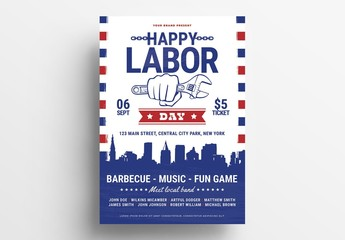 Labor Day Flyer Layout with Hand Holding Wrench