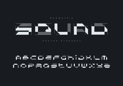 """""""Squad"""" futuristic font design. Geometric vector alphabet."""