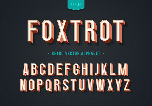 """""""Foxtrot"""" Thin retro font with numbers. Trendy 3d alphabet. Eps10 vector."""