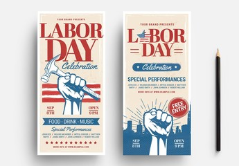 Illustrated Labor Day Flyer Layout with Hand Holding Hammer