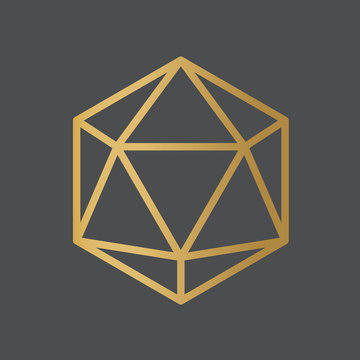 golden 20 sided dice icon - vector illustration