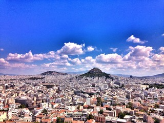 Printed roller blinds Athens Cityscape Against Blue Sky