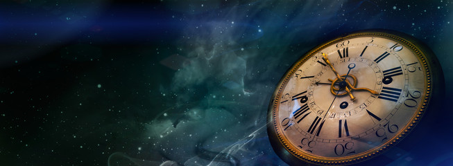 Clock face of the old watch on the night sky background with stars. Philosophy image of space time dimension.