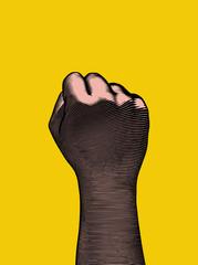 Retro engraving back human fist wrist illustration on yellow BG