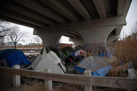 Homeless camp under bridge two