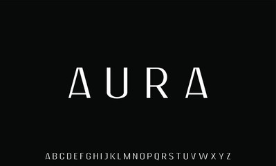 AURA LUXURY AND ELEGANT FONT DISPLAY ALPHABET VECTOR