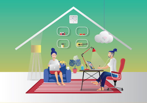 Young couple using laptop and tablet Sitting on the Sofa obsessed with devices gadgets, men and women freelancers Remote work, working at home, quarantine concepts. Stay home, flat Vector Illustration