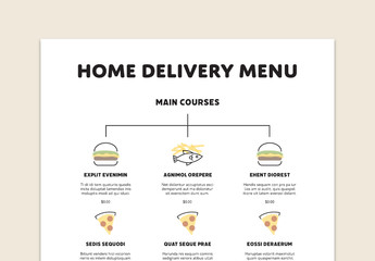 Home Delivery Menu Layout