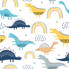 childish dinosaur seamless pattern for fashion clothes, fabric, t shirts. hand drawn. Vector illustration for baby and kids textile print, scandinavian style.