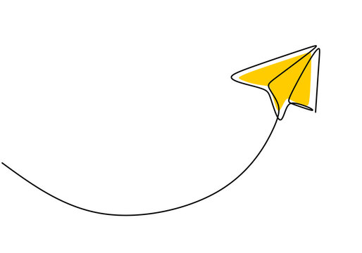 Paper plane, creative symbol. Continuous one line drawing, minimalist style. vector illustration concept of creativity.