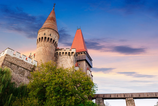legendary corvins castle in hunedoara at sunrise. one of the largest in europe and is in a list of seven wonders of romania. most visited travel destination of transylvania