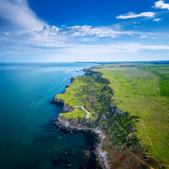 Aerial view with picturesque rocky coastline, nature park Yailata at the Black Sea coast, Bulgaria.