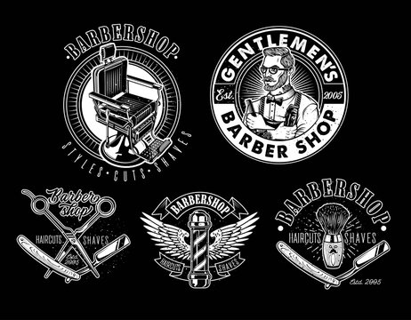 Set of Vintage Barbershop Emblems, Labels and Logos.The Barber with Hair Clipper and Hairbrush. Vintage Barber Chair. Vector Illustration.