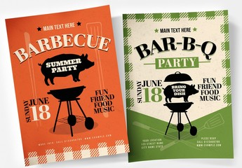 Barbecue Flyer Layout with BBQ and Pig Illustration