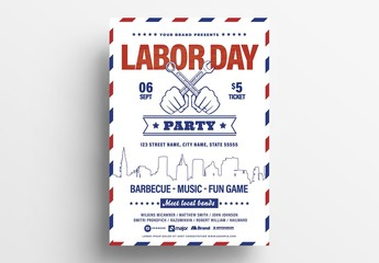 Labor Day Flyer Layout with Red and Blue Pattern