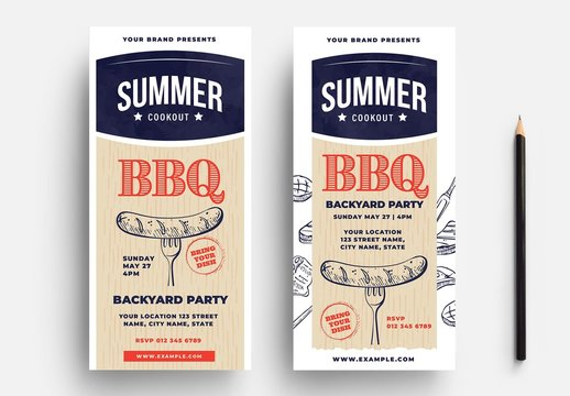 BBQ Cookout Flyer Layout with Sausage Illustration